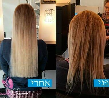 לפני ואחרי הארכת שיער