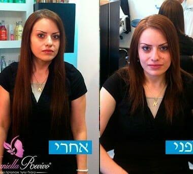 לפני ואחרי תוספות שיער בקראטין